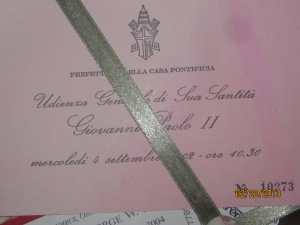 An audience card from JPII's papacy (I didn't see this, but one of my besties did and she brought this back for me!)