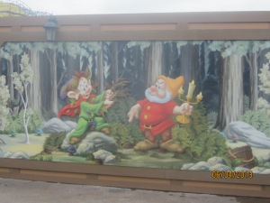 Dopey and Doc, in front of the under-construction Dwarves' Mine Ride (opens next year)