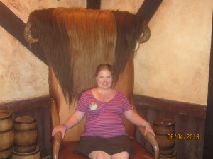 In the big chair!