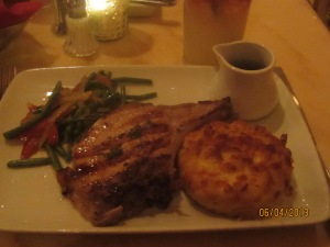 my meal: pork chop with mac and cheese and veggies