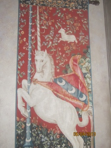 """Lady and the Unicorn"" tapestry in the castle foyer."