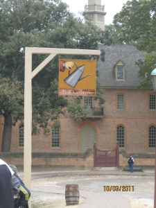 Coffeehouse signage, Colonial Williamsburg