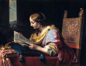 saint catherine of alexandria reading a book by marinari