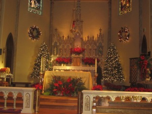 My parish altar, decorated for Christmas
