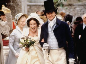 Elizabeth (Jennifer Ehle) and Darcy (Colin Firth) on their wedding day in the BBC's Pride and Prejudice adaptation.