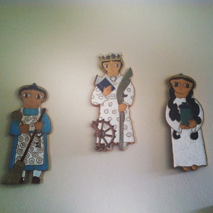 Saints: (l-r) St. Martha, St. Catherine of Alexandria, and St. Mary Magdalene