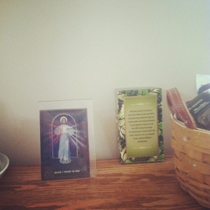 Divine Mercy on the sideboard (with tea :) )