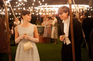 Felicity Jones as Jane Wilde and Eddie Redmayne and Stephen Hawking.